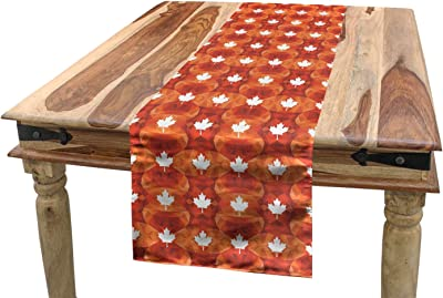 Amazon Com Ambesonne Burnt Orange Table Runner Canadian Maple Leaf Silhouette On Low Poly Style Creative Background Dining Room Kitchen Rectangular Runner 16 X 72 Multicolor Home Kitchen