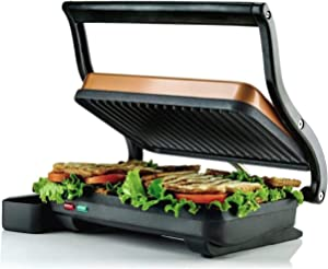 Ovente Electric Indoor Panini Press Grill with Non-Stick Double Flat Cooking Plate & Removable Drip Tray, Countertop Sandwich Maker Toaster Easy Storage & Clean Perfect for Breakfast, Copper GP0620CO