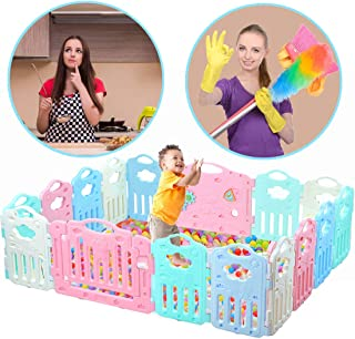 Baby Playpen Kids Activity Centre Safety Play Yard (Safe Set 16 Panel) Home Footloose Indoor Outdoor Multicolor Rubber Anti-Skid Fence Healthful Safety Design Learn Walk with Locked Door for 6+ Months