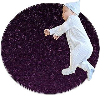 marinblå karaktärskonst, barn rund matta polyester överkast matta mjuk pedagogisk tvättbar matta barnkammare tipi tält lek...