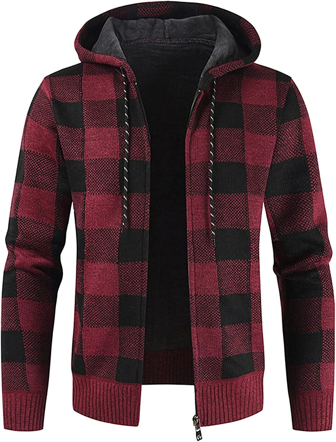Men's Winter Hooded Jacket Fashion Plaid Long Sleeve Zipped Loose Coat Casual Knitted Warm Outwear