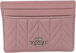 Coach Quilted Card Case in Refined Leather Carnation F73000