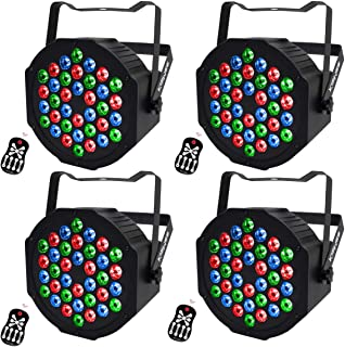 LED UP Lights,KisMee Stage Lights 36 x 1W RGB Sound Activated DJ Disco Party lights Remote Compatible with DMX-512 Controller for Wedding Party Club Church Mood Lights (36LEDs Par Lights 4 Pack)