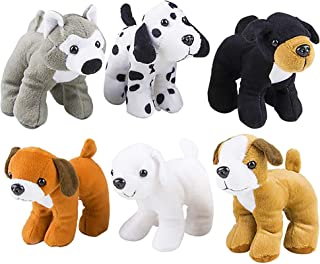 4E's Novelty Plush Puppy Dogs (Pack of 6) Assorted Cute Stuffed Puppies - 6 Inches, Small Plushed Animals, 6 Designs - for...