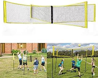 Portable 4 Square Volleyball Net Adjustable Durable Four Way Cross Volleyball Net for Outdoor Backyard 4 Side Volleyball Net Beach Adult Men Women Kids