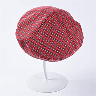 PengCheng Pang Vintage Plaid Cotton Beret Female Summer Thin Section 蓓 帽 hat Student Korean Version of The Wild Painter hat (Color : Red, Size : The Adjustable)
