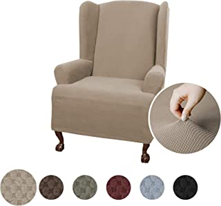 Maytex Pixel Ultra Soft Stretch Wing Back Arm Chair Furniture Cover Slipcover, Sand