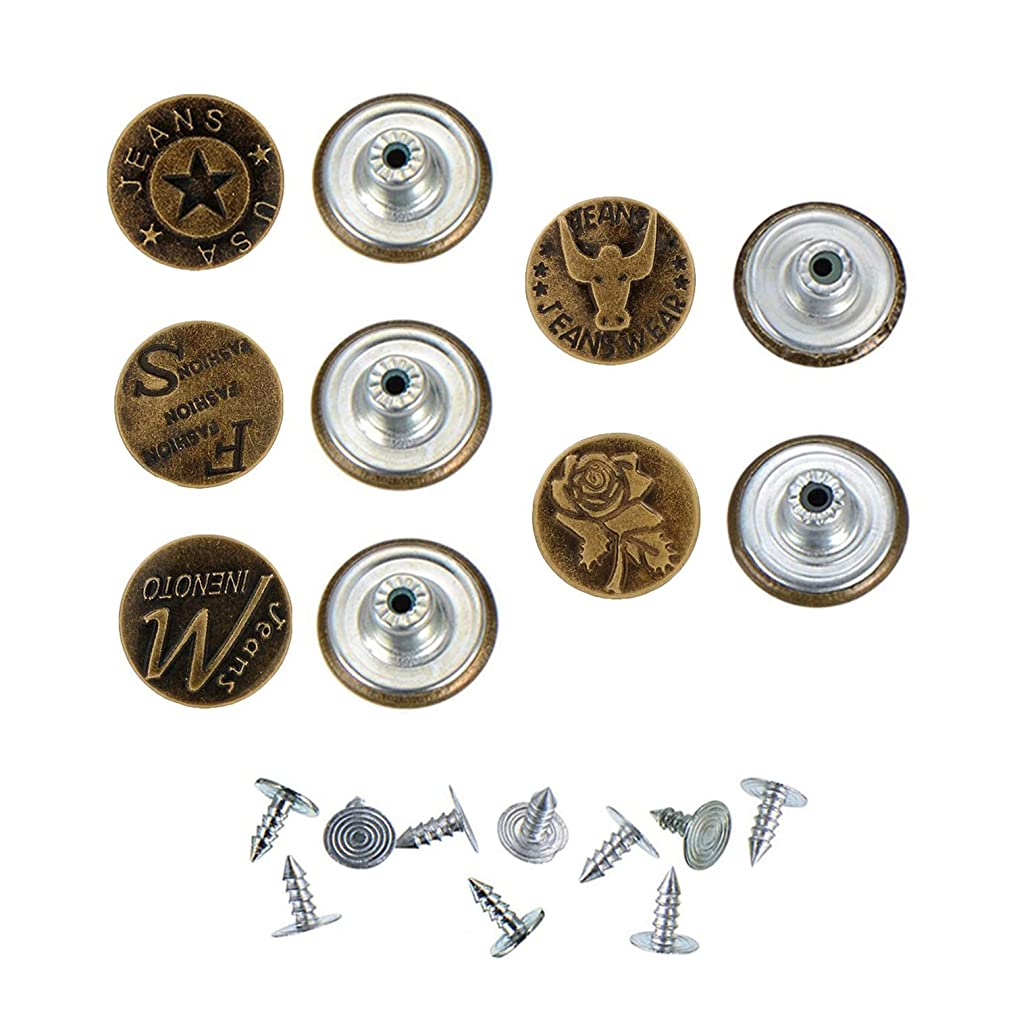 20mm 5Style 10Sets/ Bronze Fashion Metal Jeans Button Shank Button for Garment Pants Sewing Clothes Accseeories Handmade