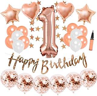 1歳誕生日飾り付け ローズゴールド 数字1 ラテックスバルーン happy birthdayバナー ガーランド シャンパンカラー 女の子 誕生日 ベビーシャワー飾り 34枚セット