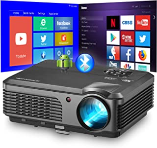 Smart WiFi Projector with Wireless Bluetooth, Upgrade 4400 Lumen Support HD 1080P LED Video Airplay Projector with Smart P...