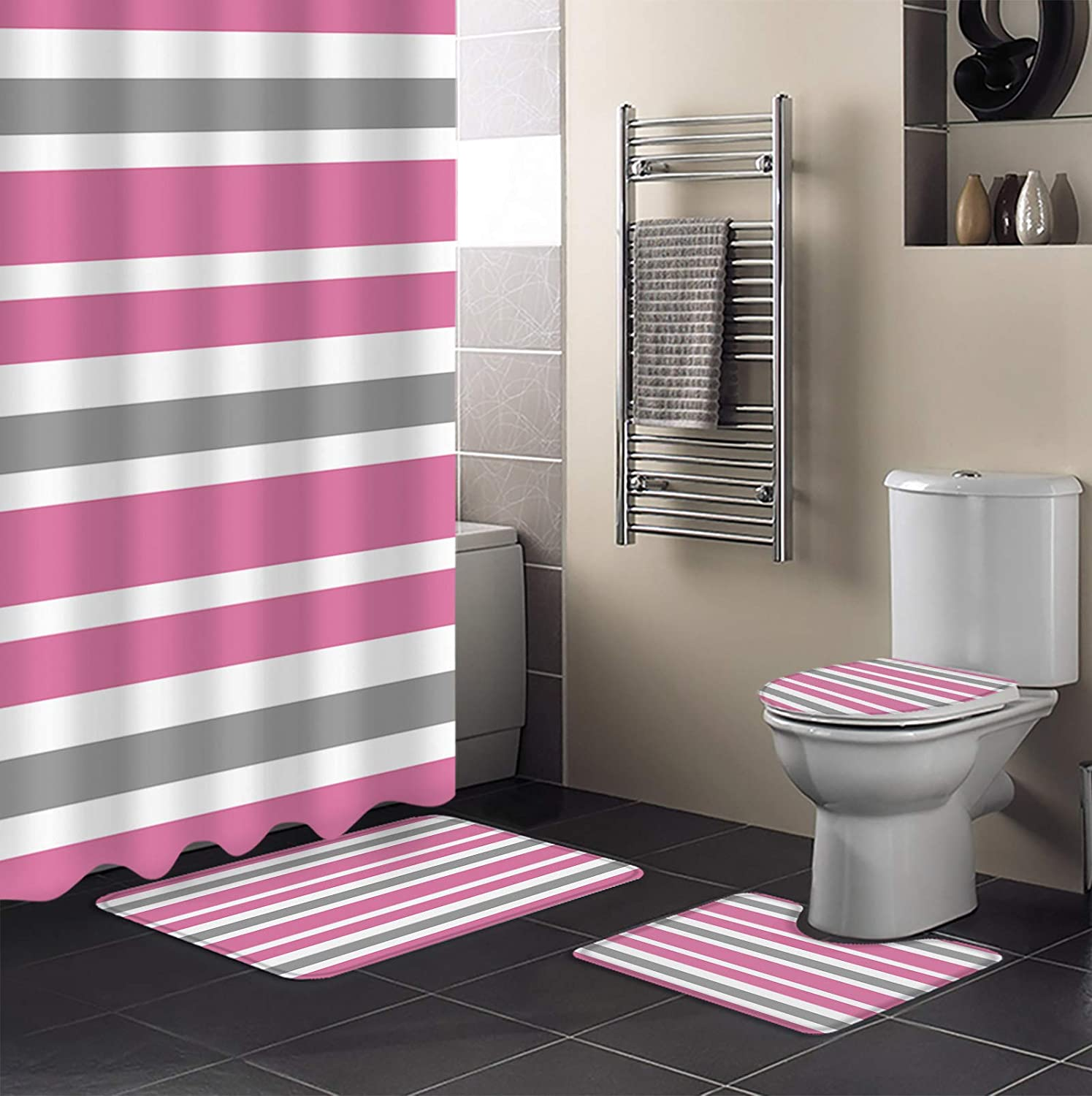 4 Piece Shower Curtain Sets Milwaukee Mall with Cover Lid Toilet El Paso Mall Rugs Non-Slip