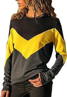 Yidarton Women's Long Sleeve Crew Neck T-Shirt Tops Casual Loose Contrast Color Tunic Sweatshirt Winter Autumn