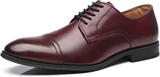 La Milano Mens Leather Updated Classic Cap Toe Oxfords Lace Dress Shoes red Size: 9 UK