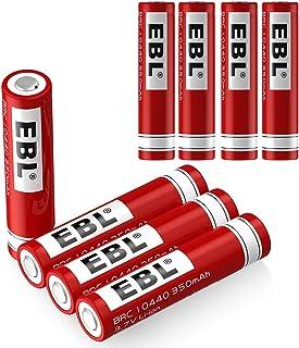 EBL 10440 Li-ion Rechargeable Batteries 3.7V 350mAh for LED Flashlight Torch, 8 Pack