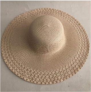 HUIJUNWENTI Summer straw hat women big wide brim beach hat sun hat foldable sun block protection hat (Color : Ivory, Size : One Size)