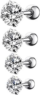4-12PCS Tragus Piercing CZ Crystal Stud Earring Set 16G Surgical Steel Ear Barbell Pack (1.2mm)