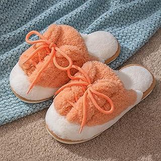 YWSZJ 冬季家用棉拖鞋女保暖皮鞋软底舒适可爱可爱室内卧室女男士情侣毛毛拖鞋 (Color : Orange, Size : 37-38)