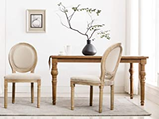 French Dining Chairs, Distressed Elegant Tufted Kitchen Chairs with Carving Wood Legs & Round Back - Set of 2 - Beige