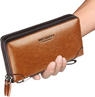Mens Clutch Bag Handbag Leather Zipper Long Wallet Business Hand Clutch Phone Holder, Light Brown, 7.87in4.72in1.96in