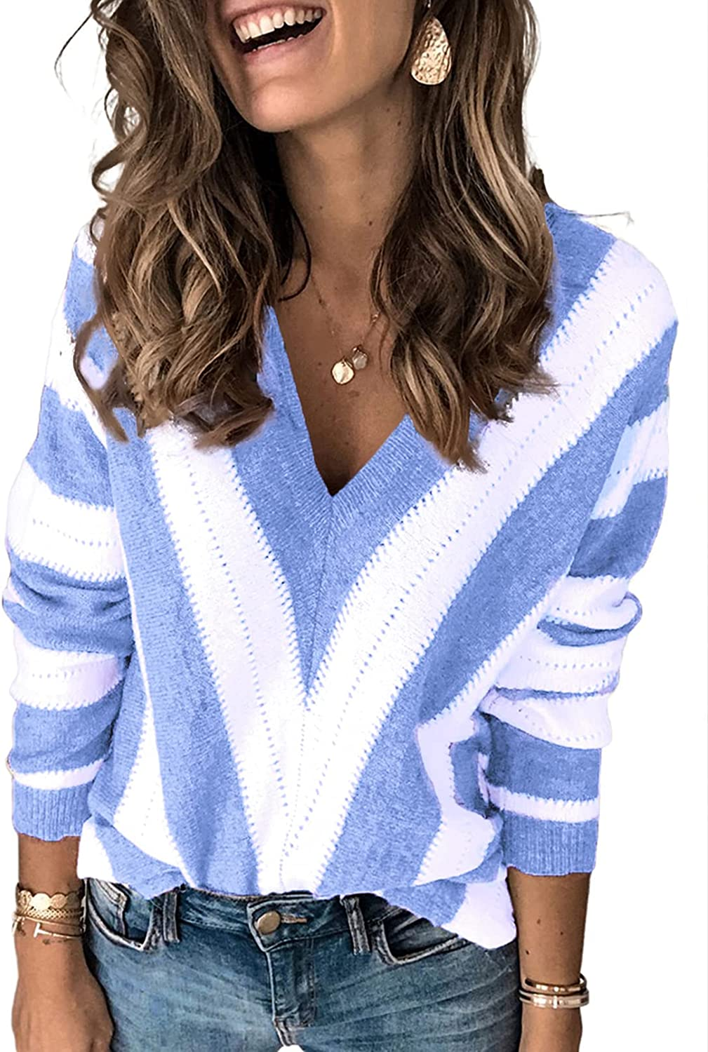 Dokotoo Womens Sexy V Neck Sweaters Autumn Long Sleeve Striped Sweater Tops Loose Pullover Knited Sweater