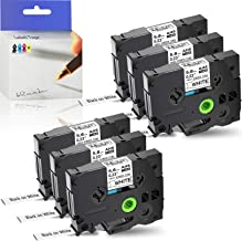 """KCMYTONER 6 Pack Black on White Heat Shrink Tube Tape Compatible for Brother HSe-211 HSe211 HS211 HS-211 for P-Touch Label Maker PT-E300 PT-H300 PT-E500 PT-E550W PT-P750WVP (5.8mm 1/4"""",4.92 ft)"""