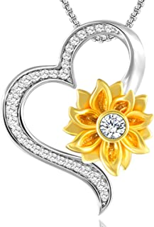Sunflower Heart Pendant Necklace for Women Gold Plated Love Flower Necklace for Mom, You Are My Sunshine Jewelry Gifts for Birthday Christmas