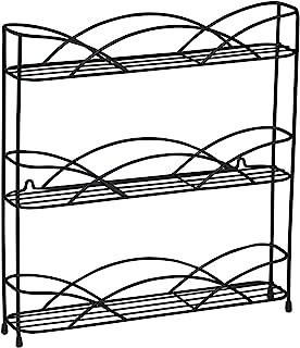 منظم خزائن المطبخ من ثلاث طوابق متنوعة على الطاولة أو تخزين اختياري مثبت على الحائط، 3 رفوف للتوابل، قدم مطاطية مرتفعة، أسود