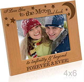 Kate Posh - I love you to the moon and back, to infinity & beyond, forever & ever - Engraved Solid Wood Picture Frame (4x6-Horizontal)