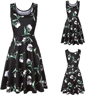 Women Dress, Women Sleeveless Printing Summer Beach A Line Casual Dress Floral Dress Holiday Summer Beach Skirt Evening Co...