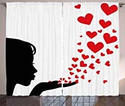 FAFANIQ Kiss Curtains, Pretty Girl Black Silhouette Blowing Red Hearts Romance Love Valentines Day Theme, Living Room Bedroom Window Drapes 2 Panel Set, Black White Red,57 * 47 Inch
