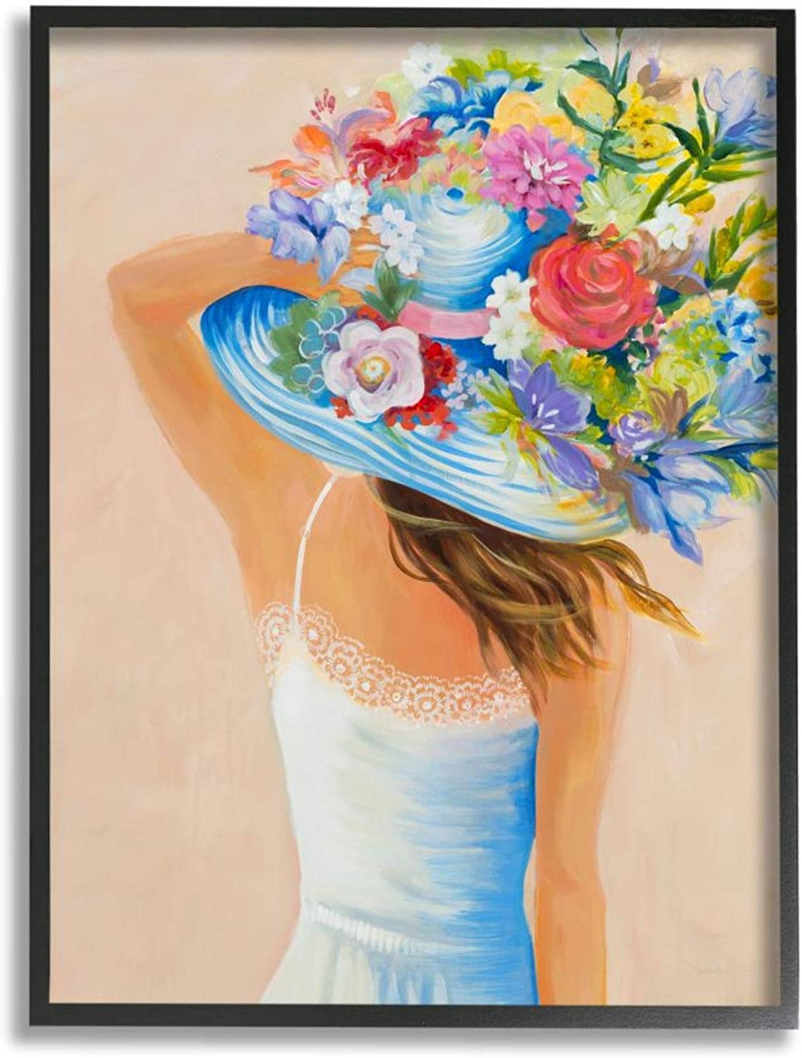 Stupell Industries Girl Holding 70% OFF Outlet Large Bouquet Hat Brimmed Floral Max 80% OFF