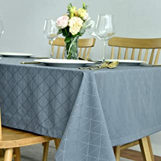 maxmill Jacquard Poly-Cotton Tablecloth Geometric Pattern SpillProof, Water Resistant Wide Hem Heavy Weight Soft Table Cloth for Kitchen Dining Tabletop Decoration Rectangle, Blue, 52x70 Inch