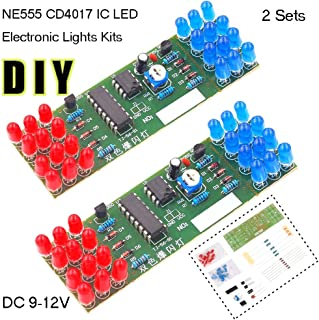 MakerHawk 2pcs NE555 CD4017 IC LED Electronic Lights Kits Red Blue Dual-Color DIY Kit Strobe Electronic Suit Flashing Lights Components DIY