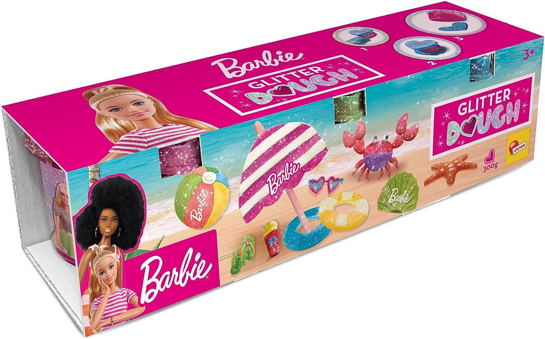 Lisciani, Barbie Glitter Dough Kit Verano, 3 Botes en forma de corazón, Plastilina con purpurina, Pack 3 x 100 g, 88836 - Juego creativo para niñas a partir de 3 años