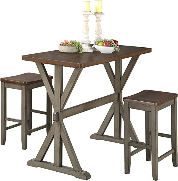 Homelegance Ceylon 3 Piece Counter Height Dinette Set Two Tone