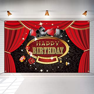 Las Vegas Casino Birthday Party Photo Booth Backdrop Background Banner with 19.7 Feet White String, Casino Theme Birthday Decoration, Casino Sign Happy Birthday Banner Supplies 6 x 3.6 ft