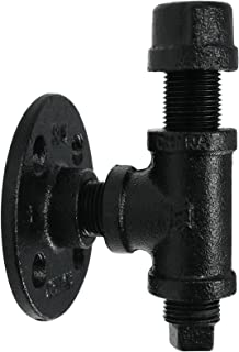 Robe And Towel Single Hook Kit by Pipe Decor Heavy Duty DIY Style, Rustic and Chic Industrial Iron Pipe With Electroplated Black Finish, Wall Mounted, Mounting Hardware Included, Oil And Rust (1)
