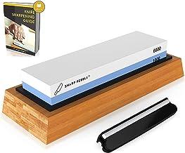 Sharp Pebble Premium Whetstone Knife Sharpening Stone 2 Side Grit 1000/6000 Waterstone   Best Whetstone Sharpener   NonSlip Bamboo Base & Angle Guide