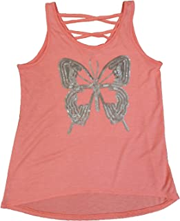Epic Threads Big Girls' Butterfly Graphic-Print Sequined Tank-Top Lava Guava Medium