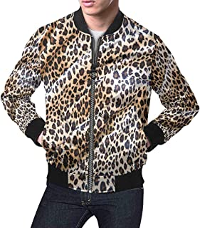 Men's Tiger Leopard Cheetah Pattern Fabric Classic Bomber Jacket
