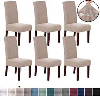 H.VERSAILTEX Stretch Dining Chair Covers Chair Covers for Dining Room Set of 6 Parson Chair Covers Slipcovers Chair Protectors Covers Dining, Feature Textured Checked Jacquard Fabric, Sand