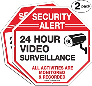 2-Pack Video Surveillance Sign, 10 x 10 Rust Free .040 Aluminum Security Warning Reflective Metal Signs, Indoor or Outdoor Use for Home Business CCTV Security Camera, UV Protected & Waterproof,Red