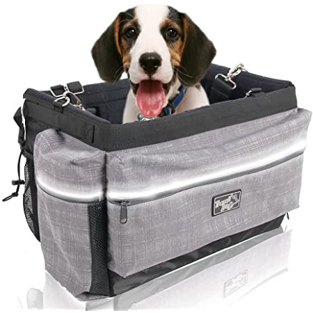 ALL FOR PAWS Delux 2 in 1 Dog Bike Basket Bicycle Basket Carrier Bag with Reflective Stripe for Small Dogs,Cats,Rabbit, upto 10Lbs