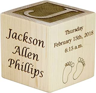 Personalized Wood Baby Birth Block, Choose from 3 Sizes, New Baby Gifts, Baby Boy, Baby Girl, Newborn Gifts (2