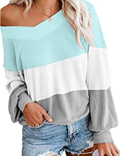 LANISEN Women's Sexy V Neck Long Sleeve Waffle Knit Off Shoulder Pullover Sweater Tops