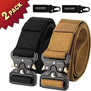 FEIKCOR Tactical Belt Military Nylon Webbing Belt with Heavy Duty Buckle, Elastic Loop-Keep The Slack in Place