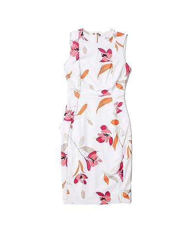 Calvin Klein Floral Print Sheath Dress (Coral Multi) Women