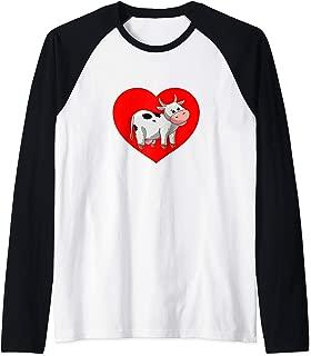 I Love Cows Red Heart Cute Cartoon Farmer Rancher Cowgirl Raglan Baseball Tee