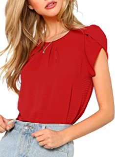 7406983ceedf3 Milumia Women s Casual Round Neck Basic Pleated Top Cap Sleeve Curved  Keyhole Back Blouse