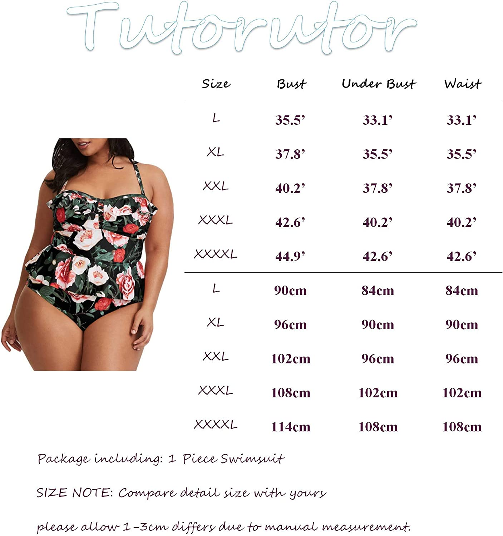 Tutorutor Womens High Waisted Plus Size Swimsuits Bikini Floral Peplum Tankini Tops Tummy Control Two Piece Bathing Suit